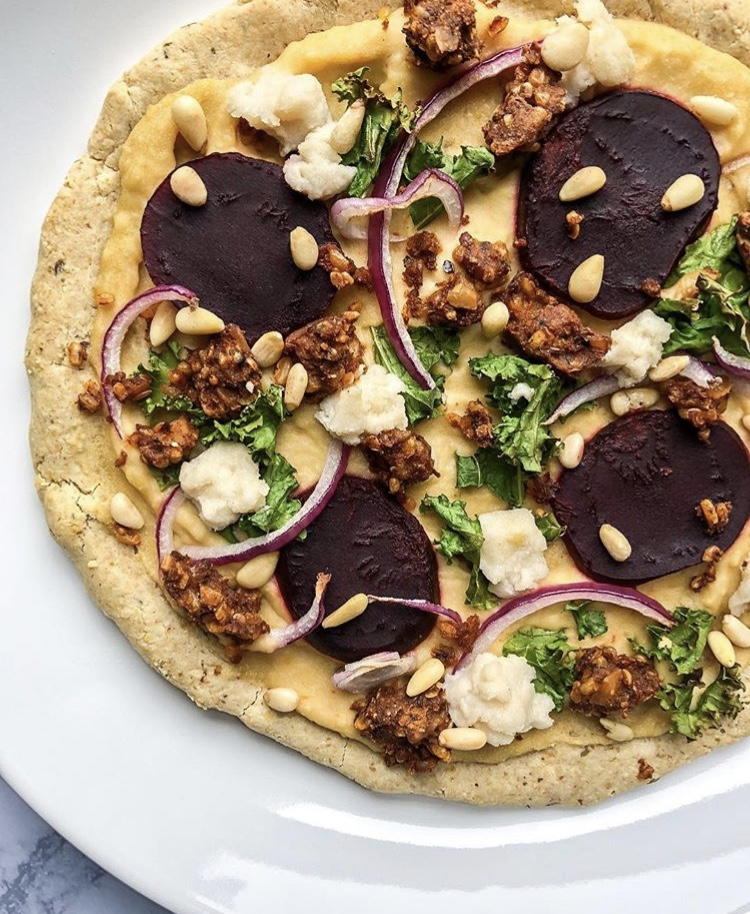 Vegan Kale and Beet Pizza